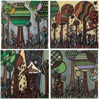 "Four Seasons of Canada.... Summer, Fall, Winter and Spring Uncommon Joy.. Hand designed and hand painted Floor Mats Each 24""x24"" 98$ + tax each"